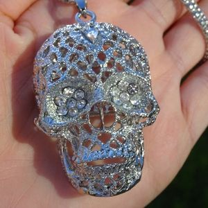 Silver Bejeweled Gothic Skull Statement Necklace
